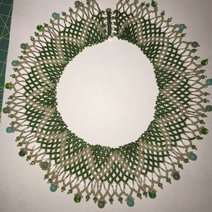 Forest green and silver RBG STYLE beaded necklace